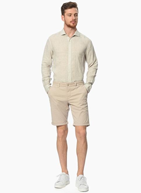 NetWork Slim Fit Uzun Kollu Keten Gömlek Vizon